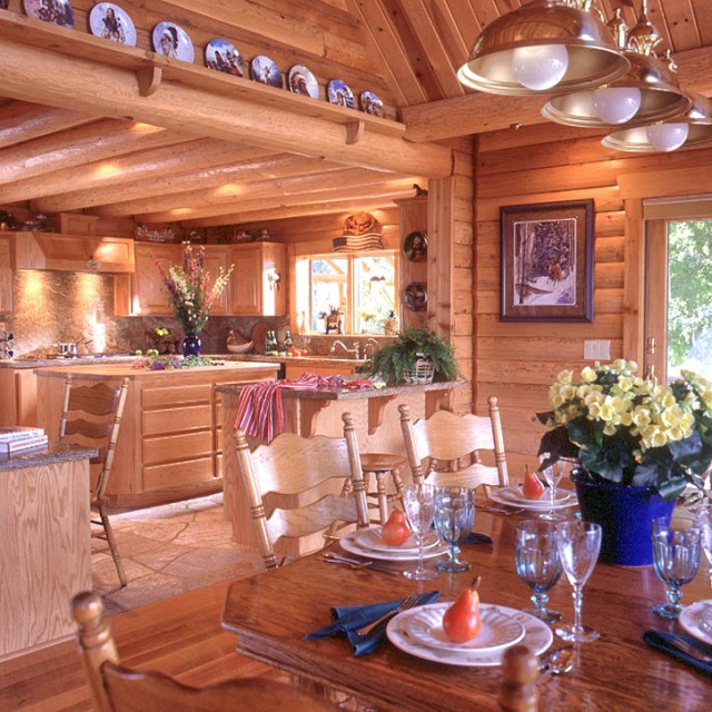 Log Home Kitchens Real Log Style: Flooring Options For Log Homes « Real Log Style