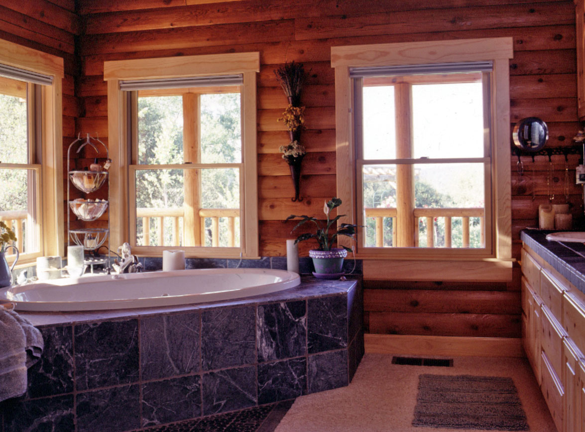 Mom s favorite log home features real log style Log cabin bathrooms