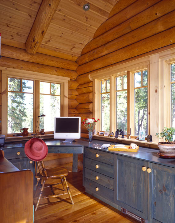 Log cabin wood stove real log style for Home office cabins