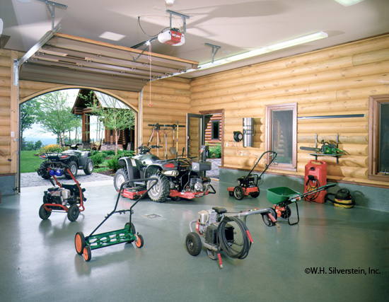 Small log home real log style for Custom garage workshop