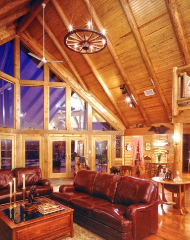 Real Log Home Interior Windows