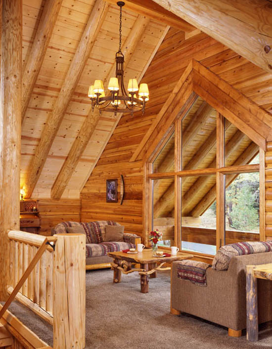 Log home lighting real log style for Log cabin with loft