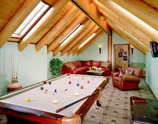 Log Home Entertainment Room | Log Home Addition