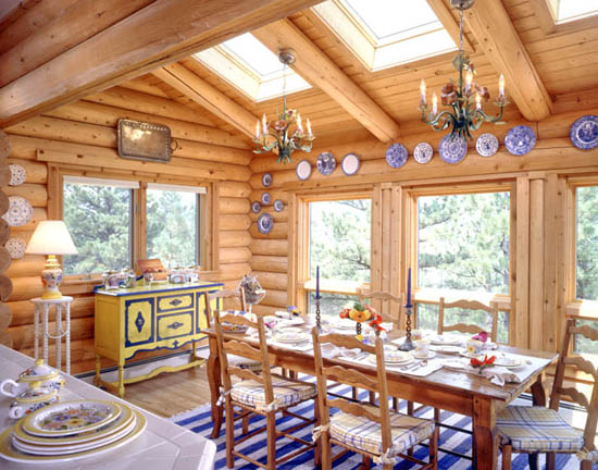 Log home additions real log style for Log cabin sunroom additions
