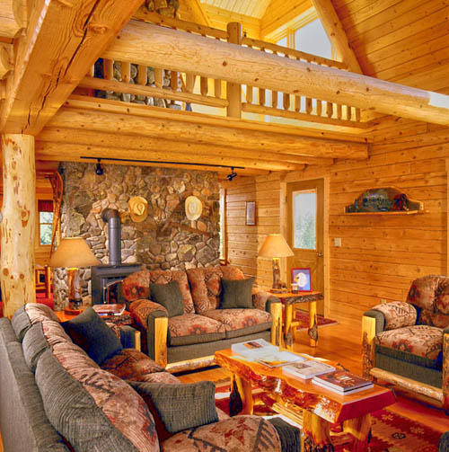 Log Home Kitchens Real Log Style: Log Home Fireplace « Real Log Style