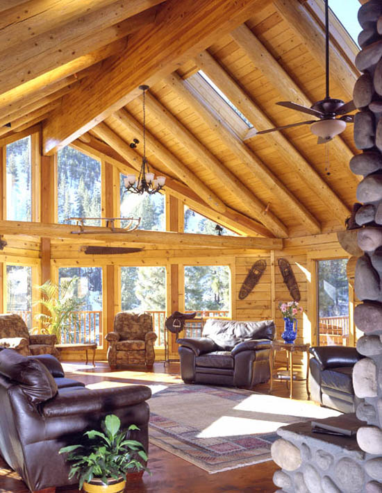 Log Home Great Room | Log Home Natural Light