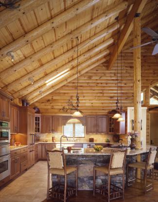 Log Home Kitchen | Custom Log Home Cathedral Kitchen