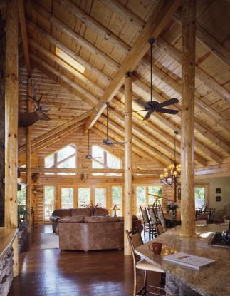 Log Home Great Room | Log Home Cathedral Ceiling