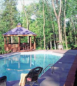 Log Home Gazebo   Log Home Pool