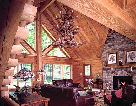 Kentucky Log Home   Log Home Great Room