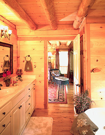 Log Home Master Bath   Log Home Bathroom Designs