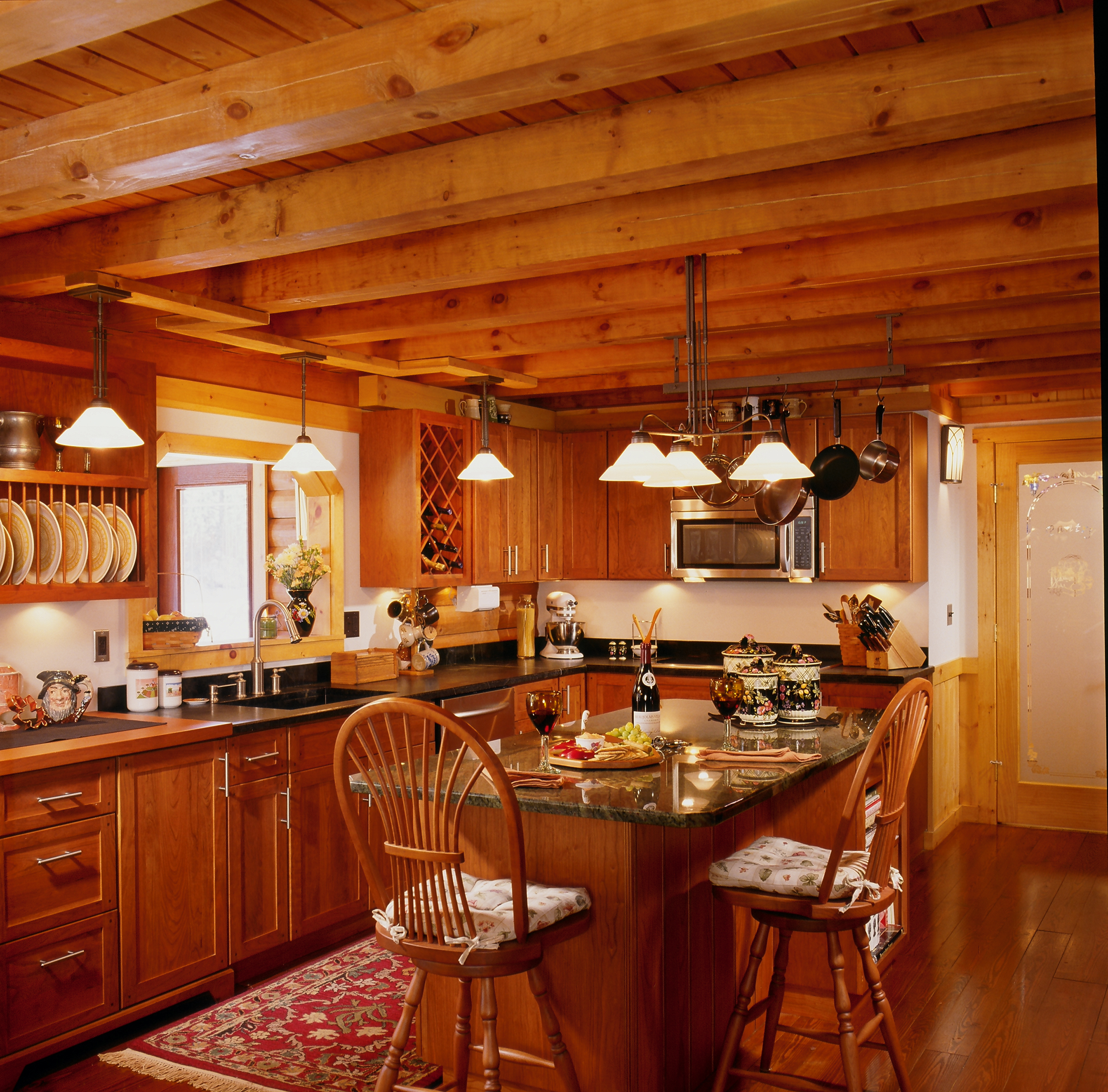 Log home photos real log style for Kitchen ideas for log homes