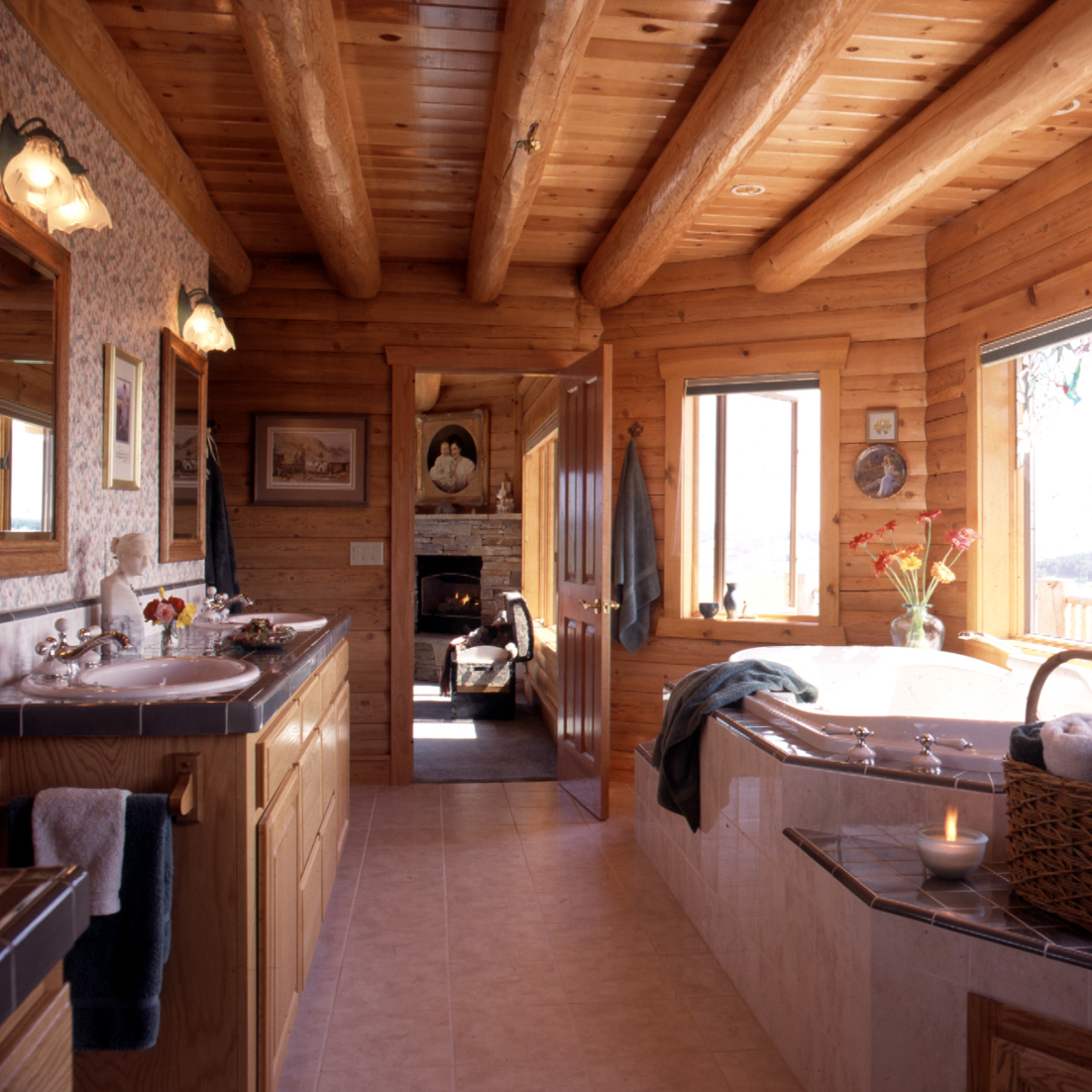 log home master bathroom with jetted tub