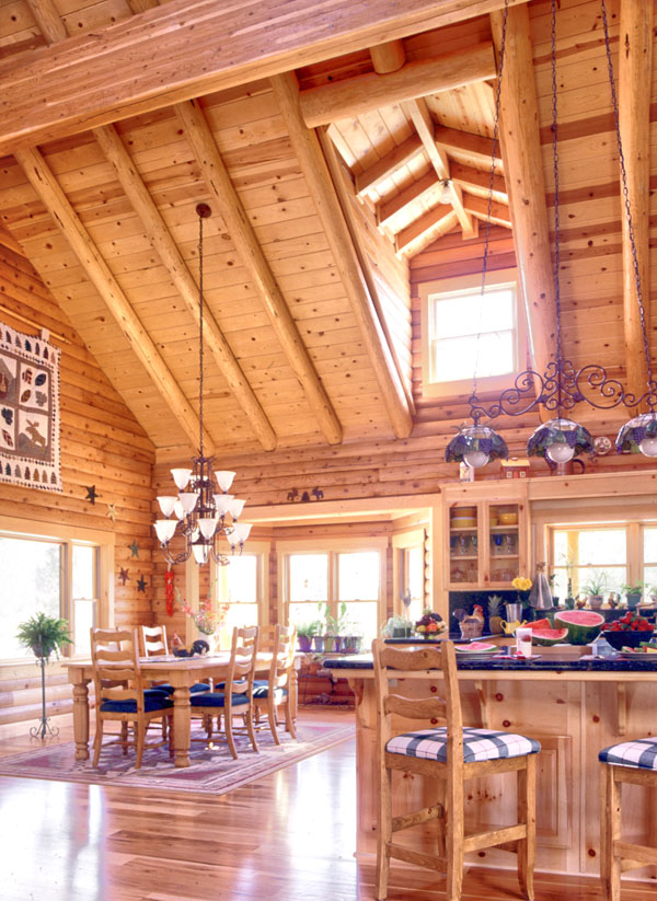 Open floor plans real log style for Log cabin open floor plans