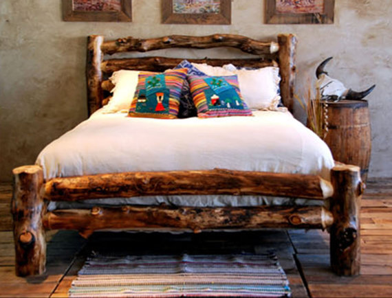 log home bed from etsy