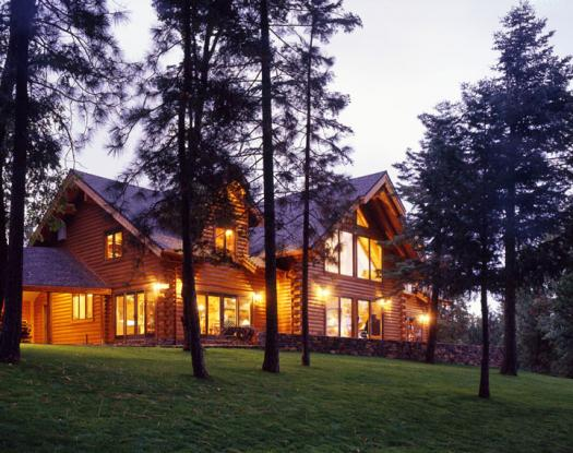 Unique log home projects real log style for Log cabin builders in california