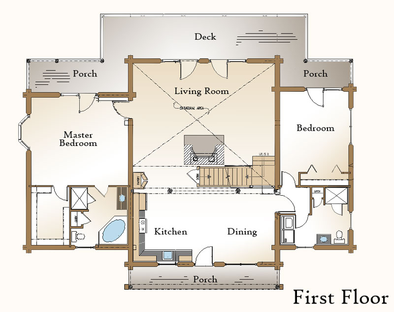 The moultonboro log home floor plan real log style for Living room floor plan layout
