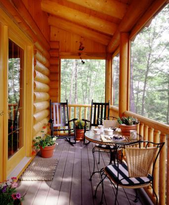 log home screen porch