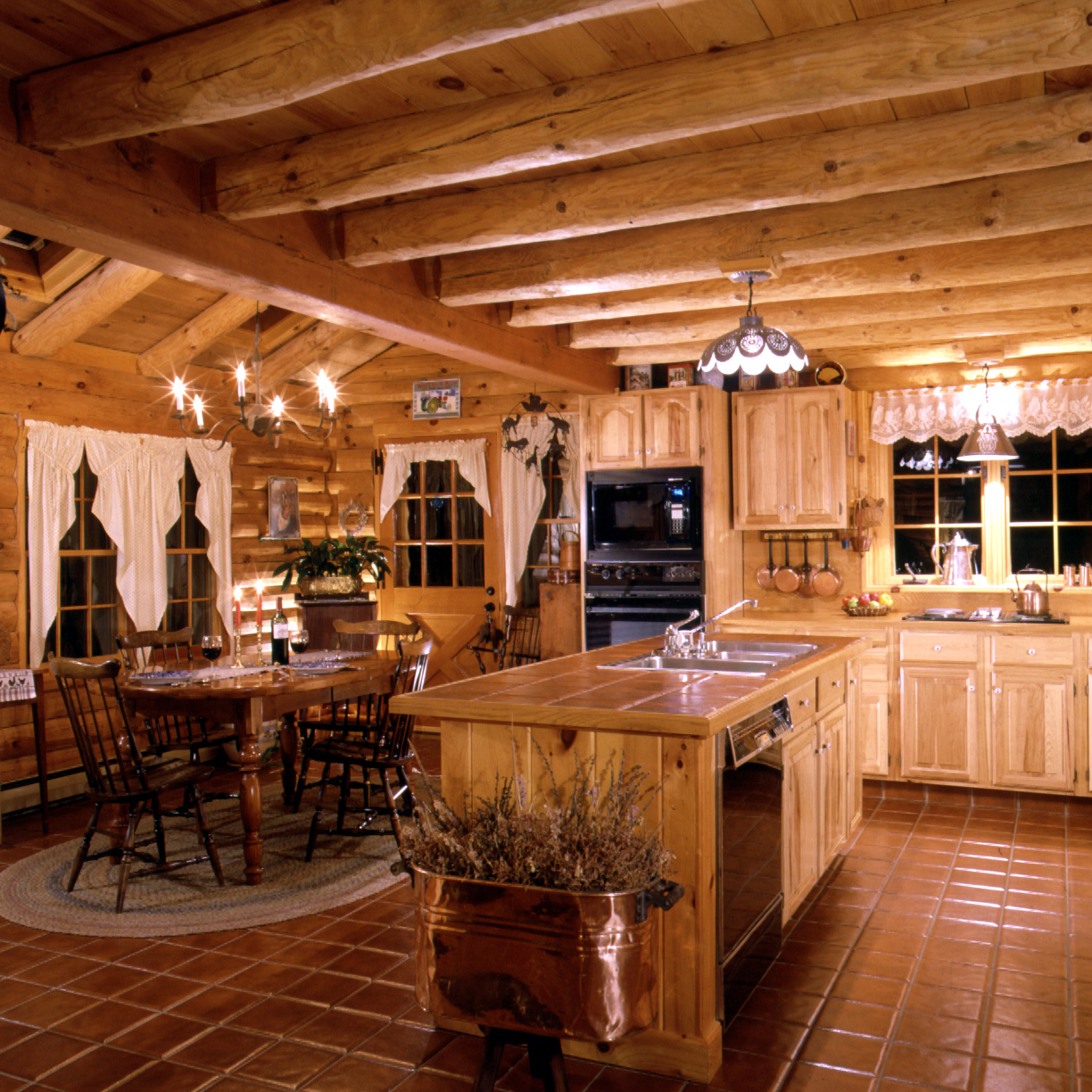 Log home kitchens real log style Cabin kitchen decor