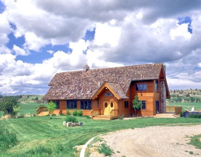 log home with cedar shake roof