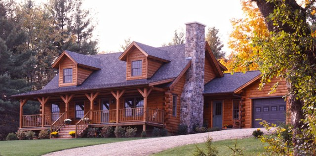 log home with architectural shingle roof and two dormers
