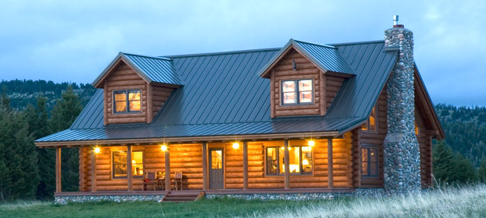 Roofing options for your log home real log homes Cabins with metal roofs