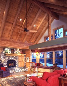 log home great room with red couch