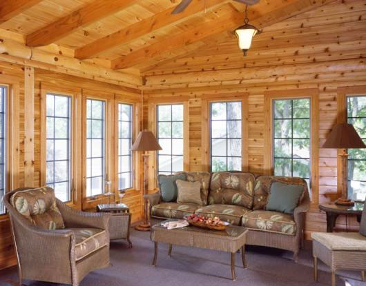 Window choices for your log home real log style for Log cabin sunroom additions
