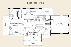log home first floor plan
