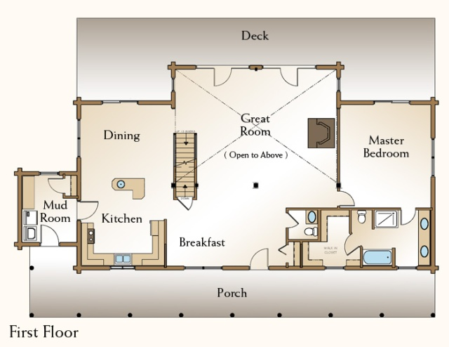 Log Home Floor Plan Real Log Style Page 2